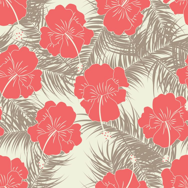 Seamless tropical pattern with brown leaves and red flowers on v
