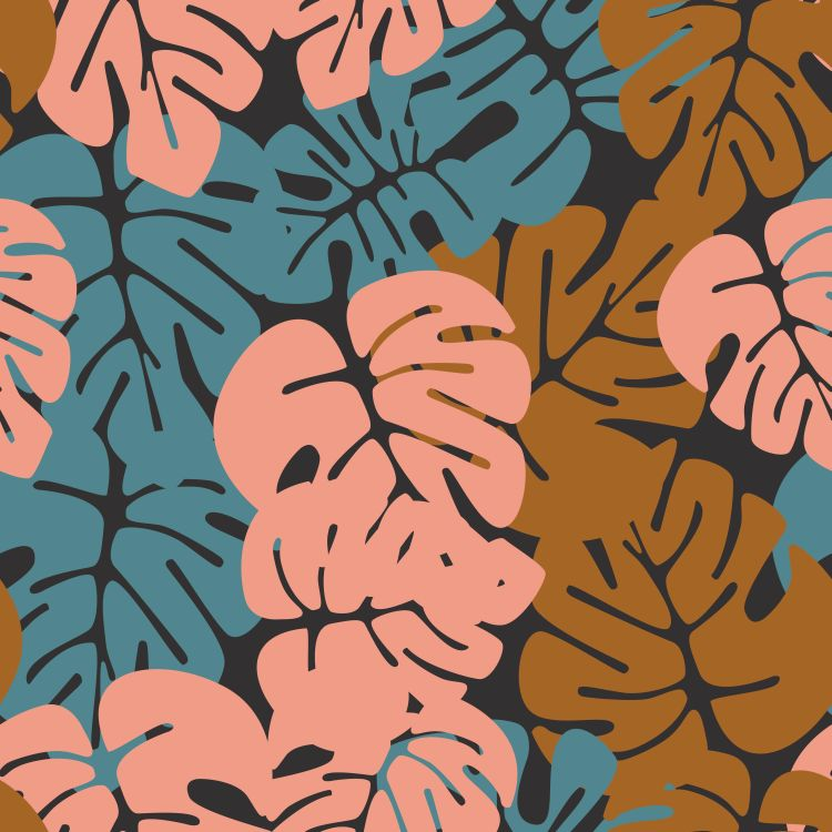 Summer seamless tropical pattern with colorful monstera palm lea