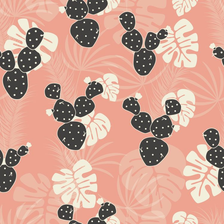 Seamless tropical pattern with monstera palm leaves and cactus o
