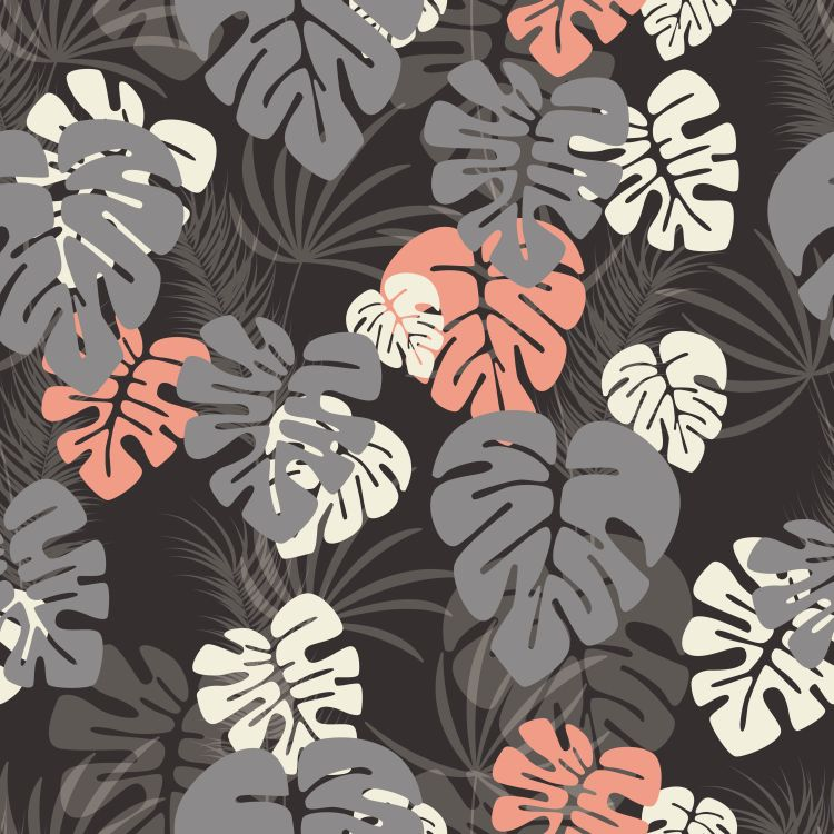 Seamless pattern with monstera palm leaves and plants on dark ba