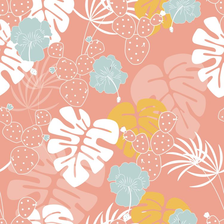 Seamless tropical pattern with monstera palm leaves, plants, flo
