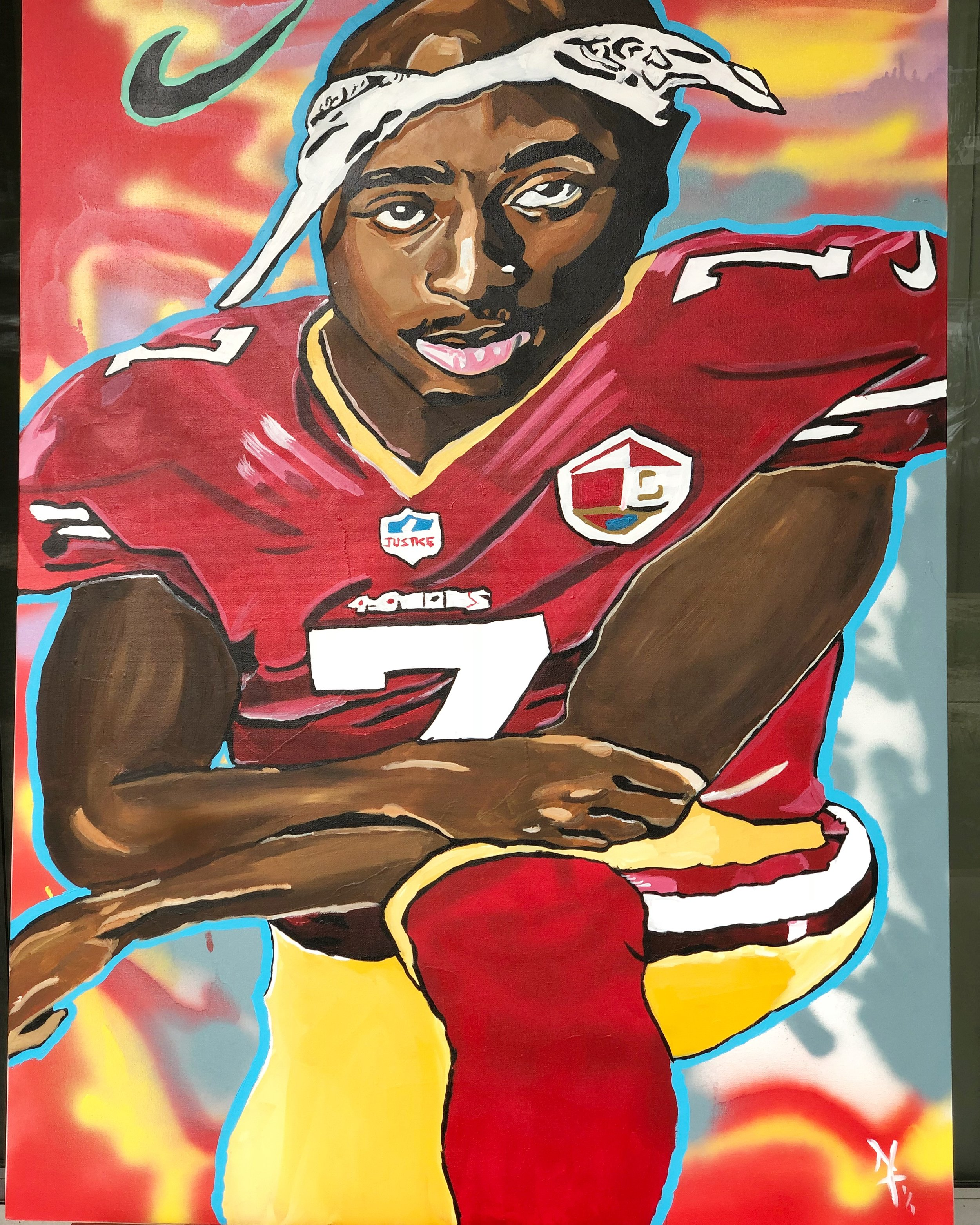 KNEEL with kap - Nai Turner36x48Acrylic PaintA ONE OF ONE PIECE. CERTIFICATE OF AUTHENTICATION PROVIDED.Contact Artist To Purchase