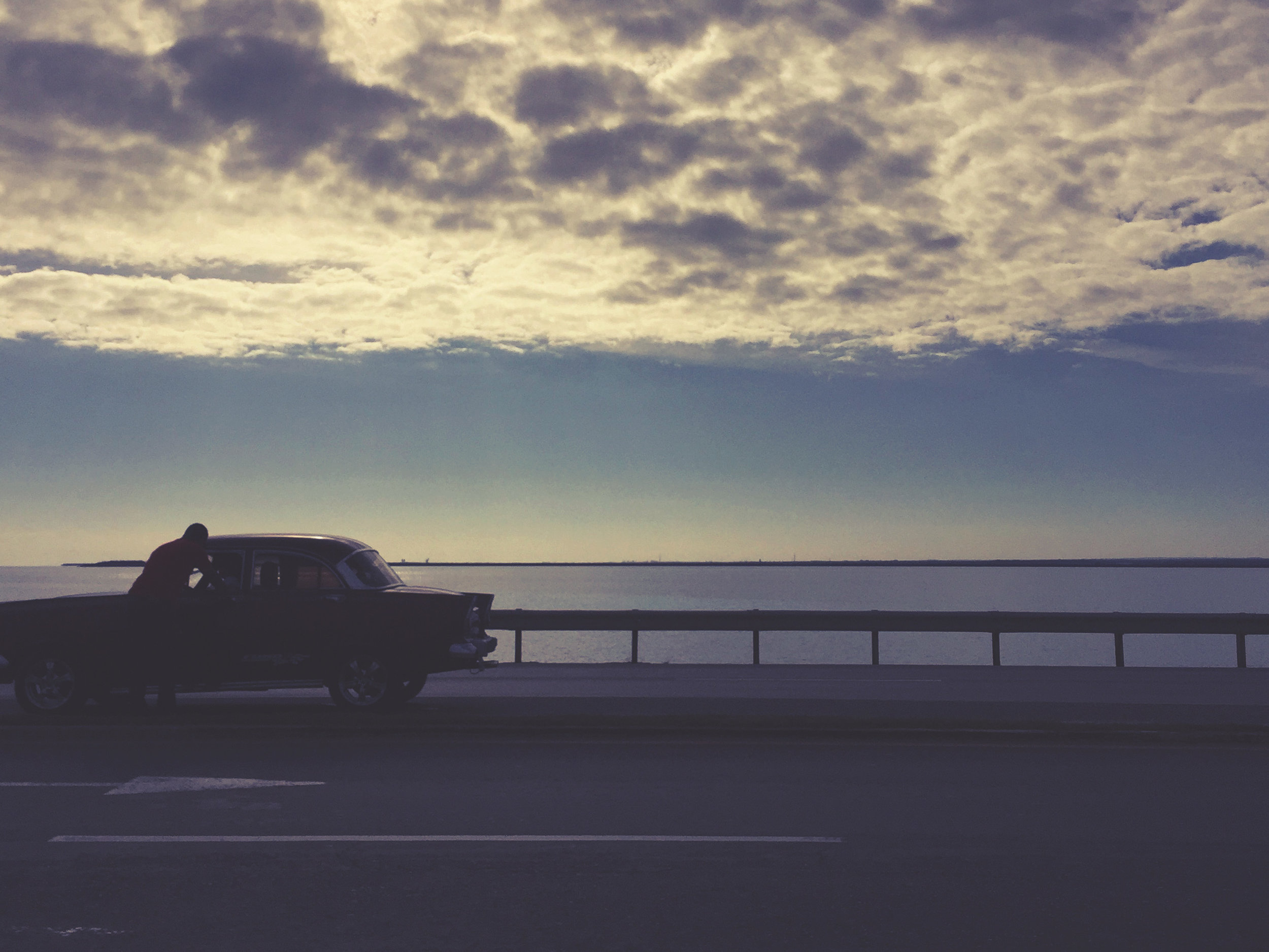 A quick chat next to the empty highway overlooking the ocean