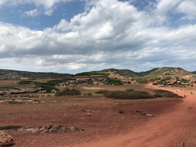 The volcanic terrain on the way to Cala Pregonda