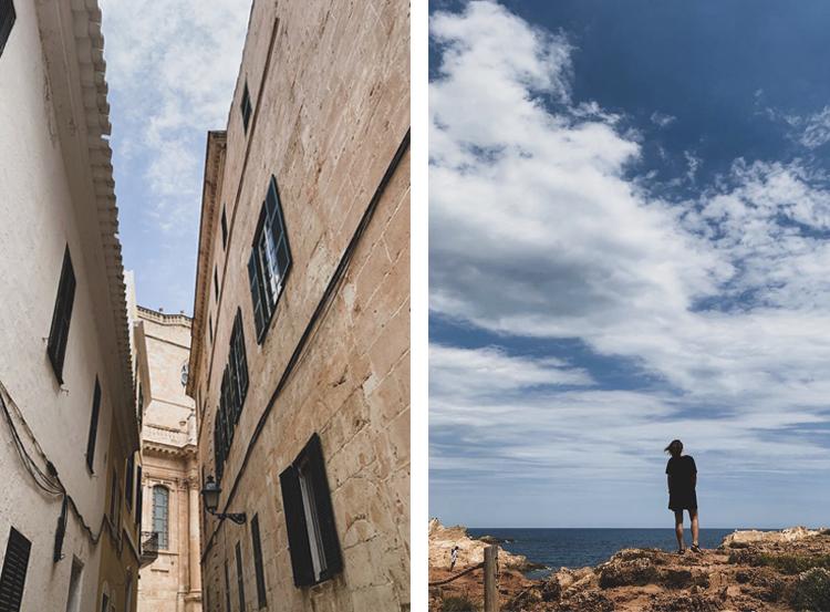 The narrow streets of Ciutadela vs the horizon in Cala Pregonda