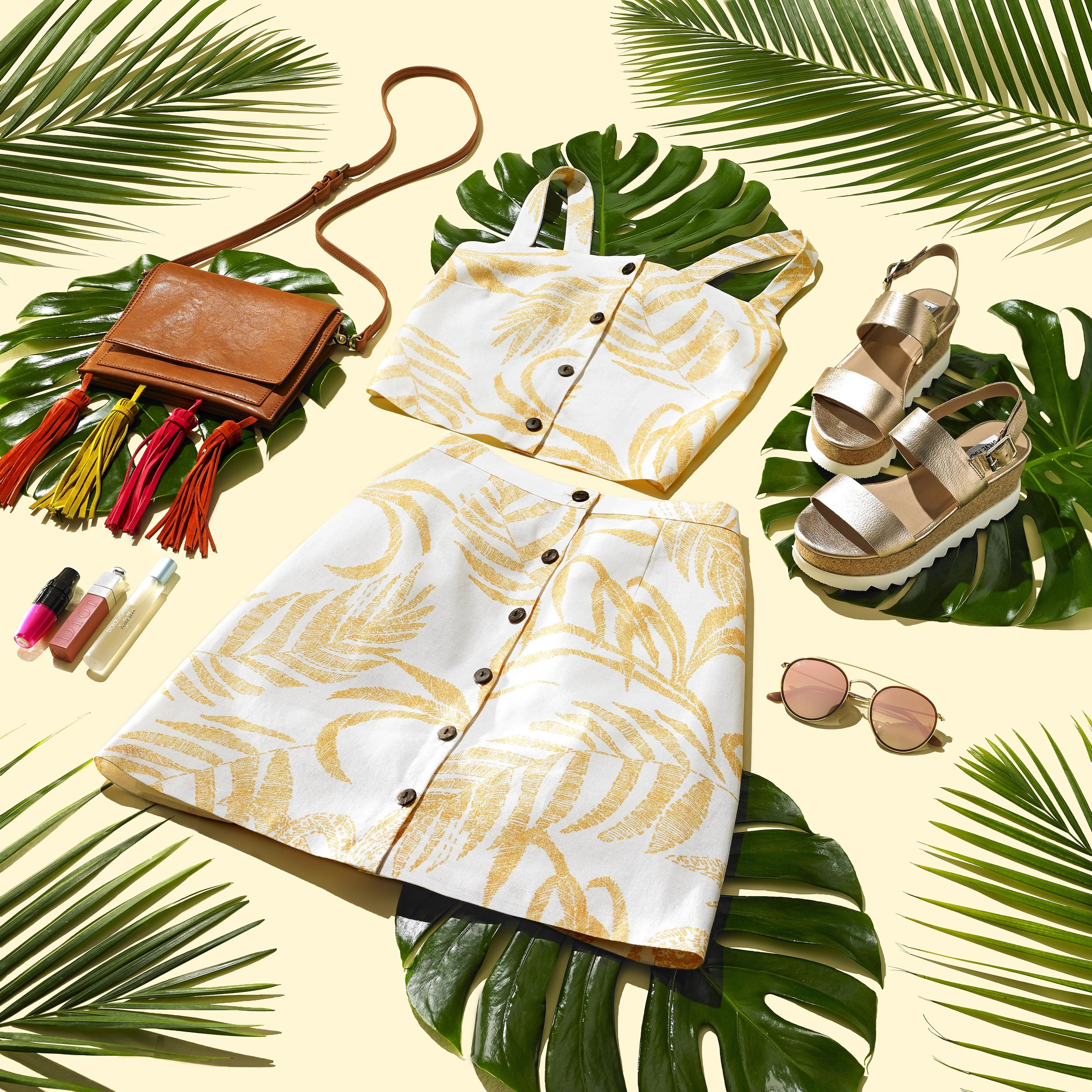 social media content, off figure fashion, fashion, photography, still life photography, shoes, handbag, cosmetics, beauty, accessories, sunglasses, dress, summer, palm leaves