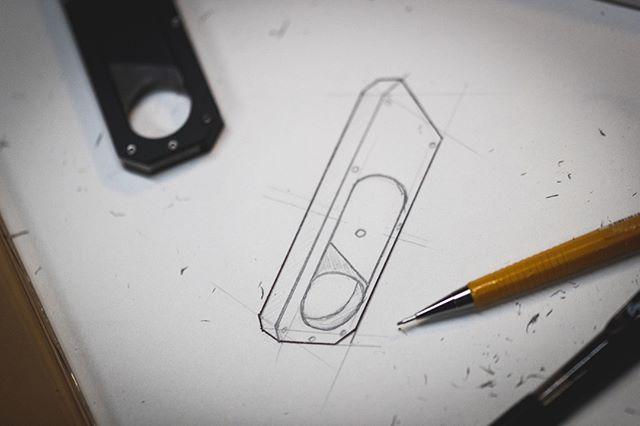 This was the first sketch of the Maker Knife! Just kidding… Took us a billion years to get to the final design!  I'm actually going to make a video about our process next week! #make #knife #makerknife #design #productdesign #industrialdesign