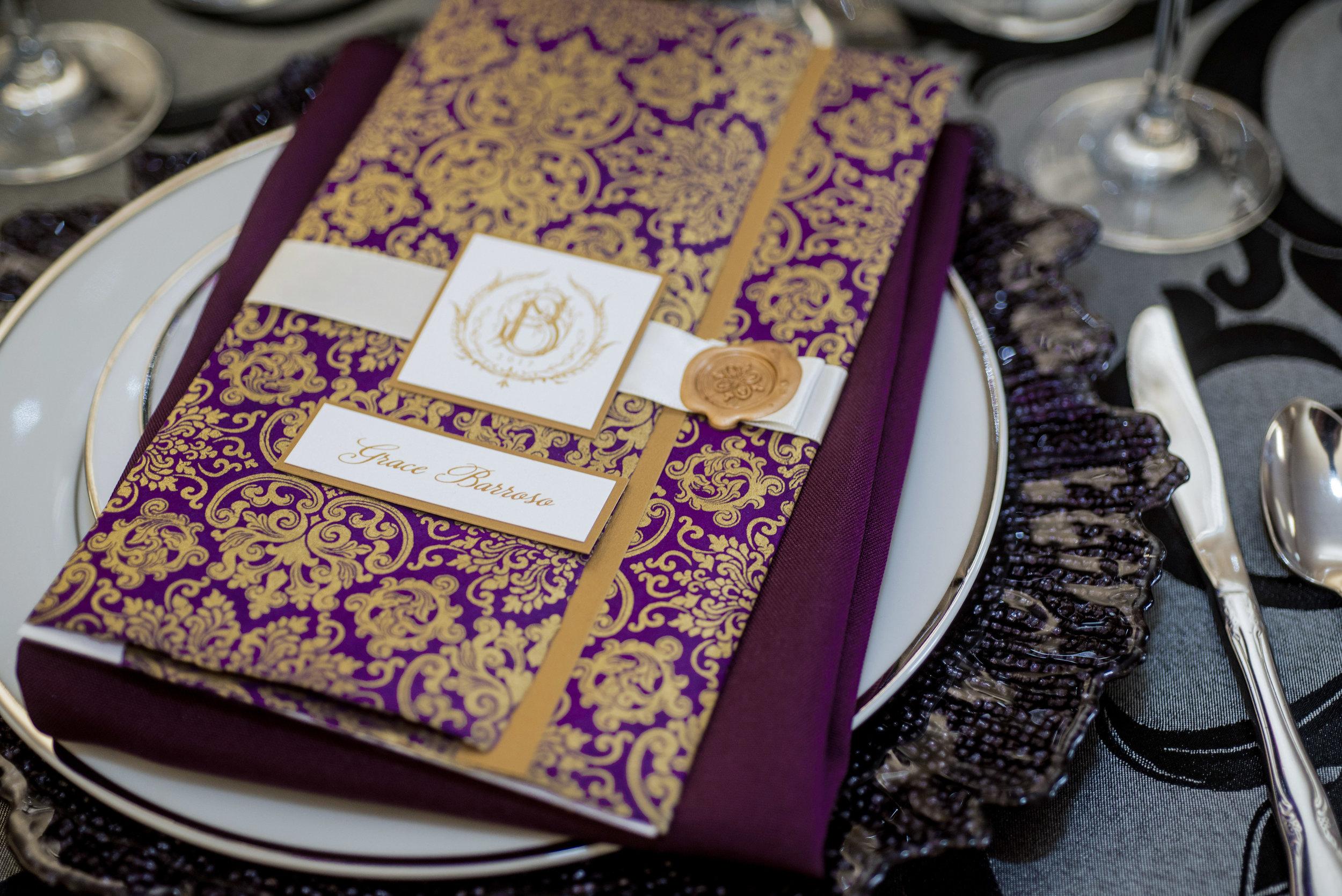 event-design-custom--menus-reception-elegant-gold-purple-thermography.jpg