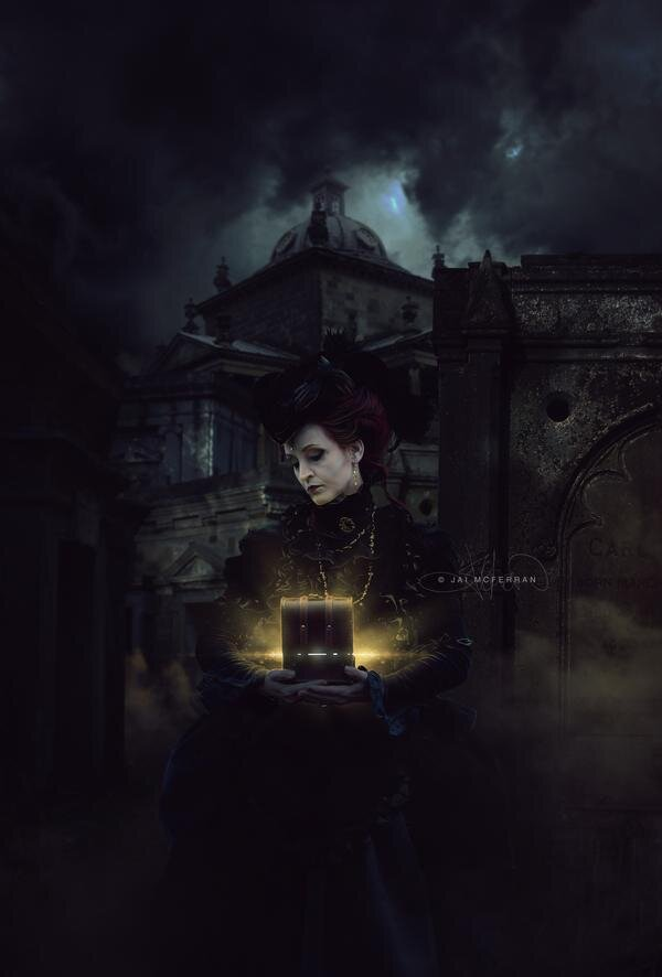 The original image was inspired by a name I had come across in my day job. Winifred Crowe was the perfect Victorian-type name so I began to build a story around it. I eventually settled on a widow who had lost her love and now wanders the cemetery in hopes of seeing his ghost.