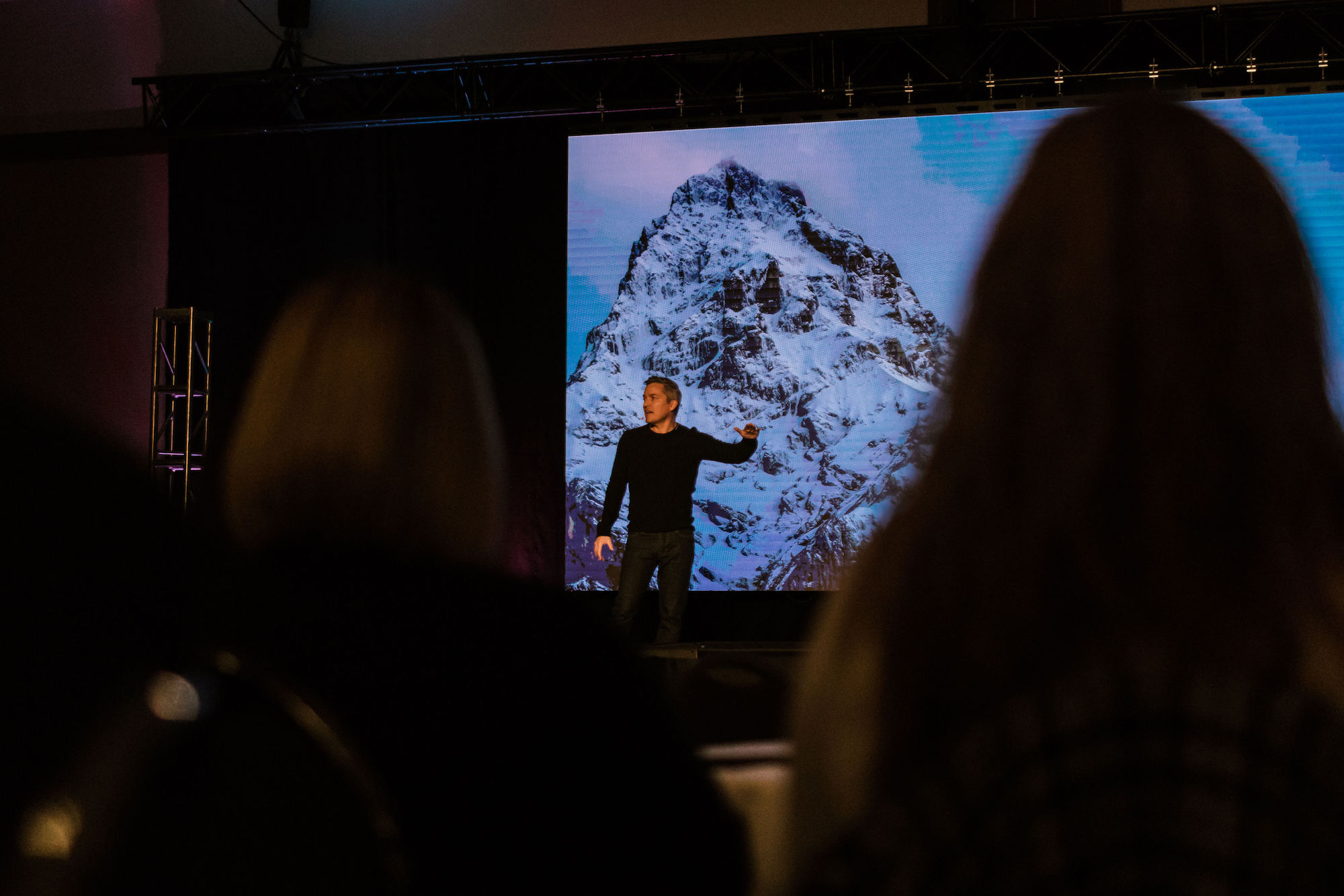 Gregor Jeffrey delivers his keynote at the BMO Centre - Calgary, Alberta - Photo by Avery Swail