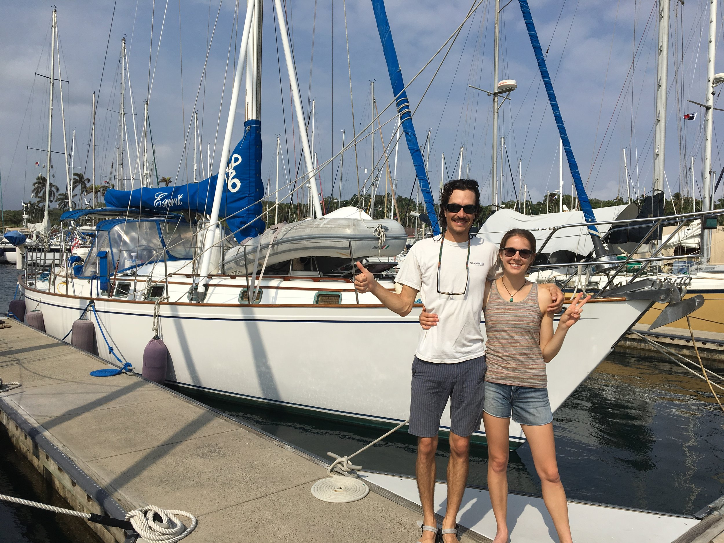 Two ecstatic young sailors getting ready for a Panama Canal transit the same afternoon!