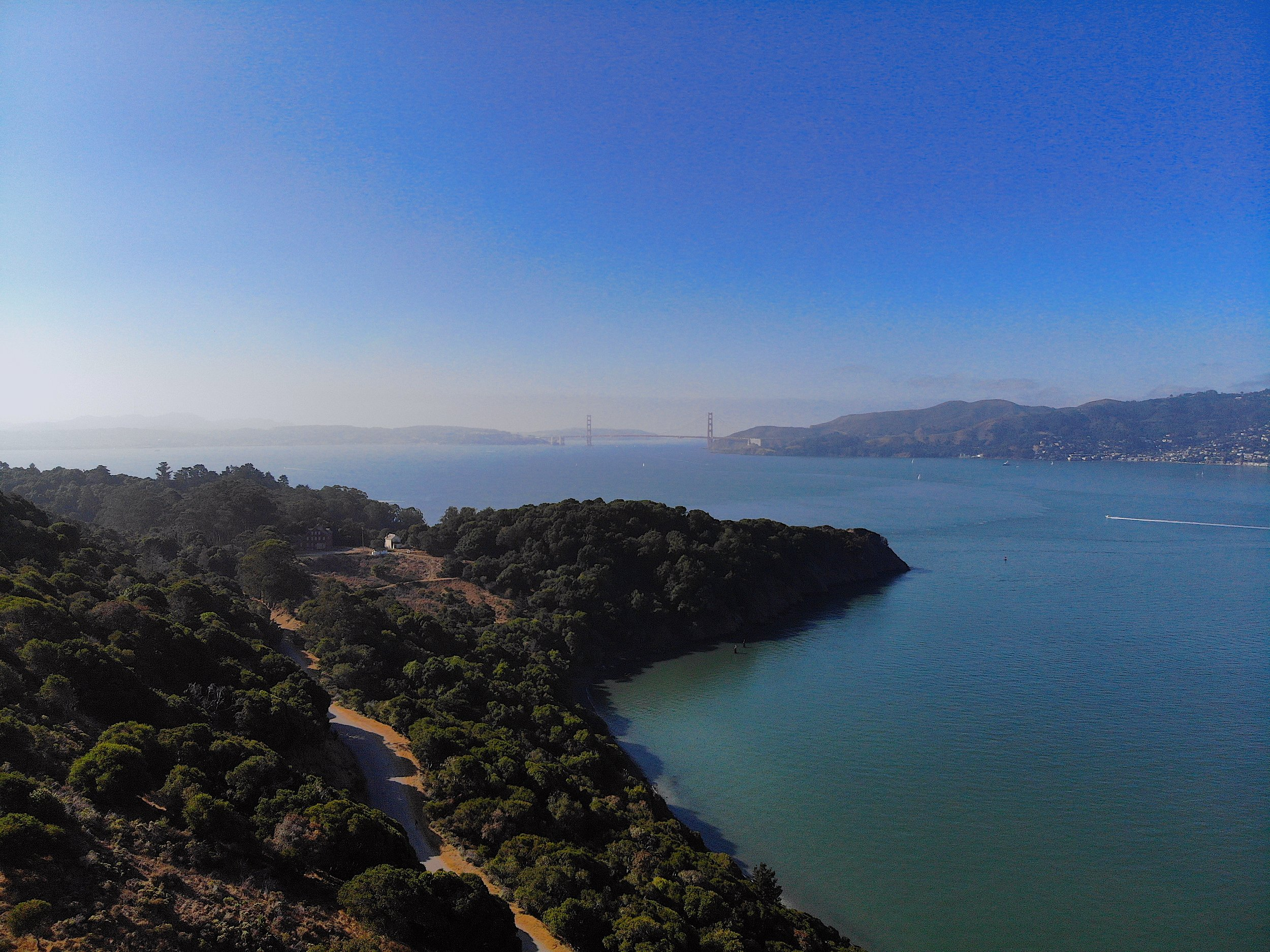 The Golden Gate Bridge above Angel Island's Ayala Cover