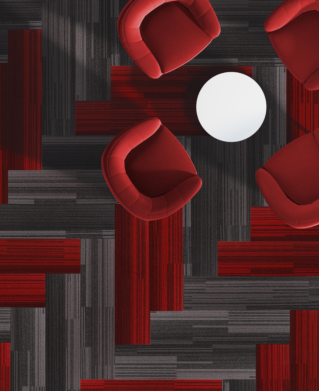 "LAMP CHARCOAL — 75132 & VENETIAN RED — 40063 Herringbone plank 9.84"" x 39.37"" installation"