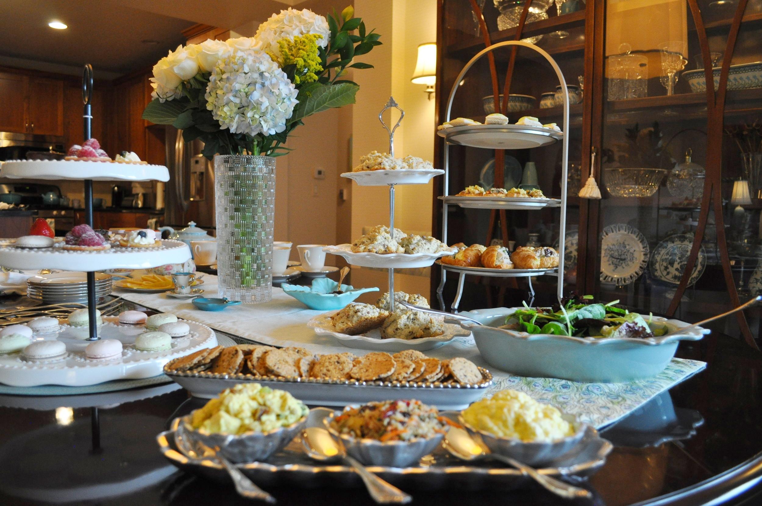 Tea party food display.