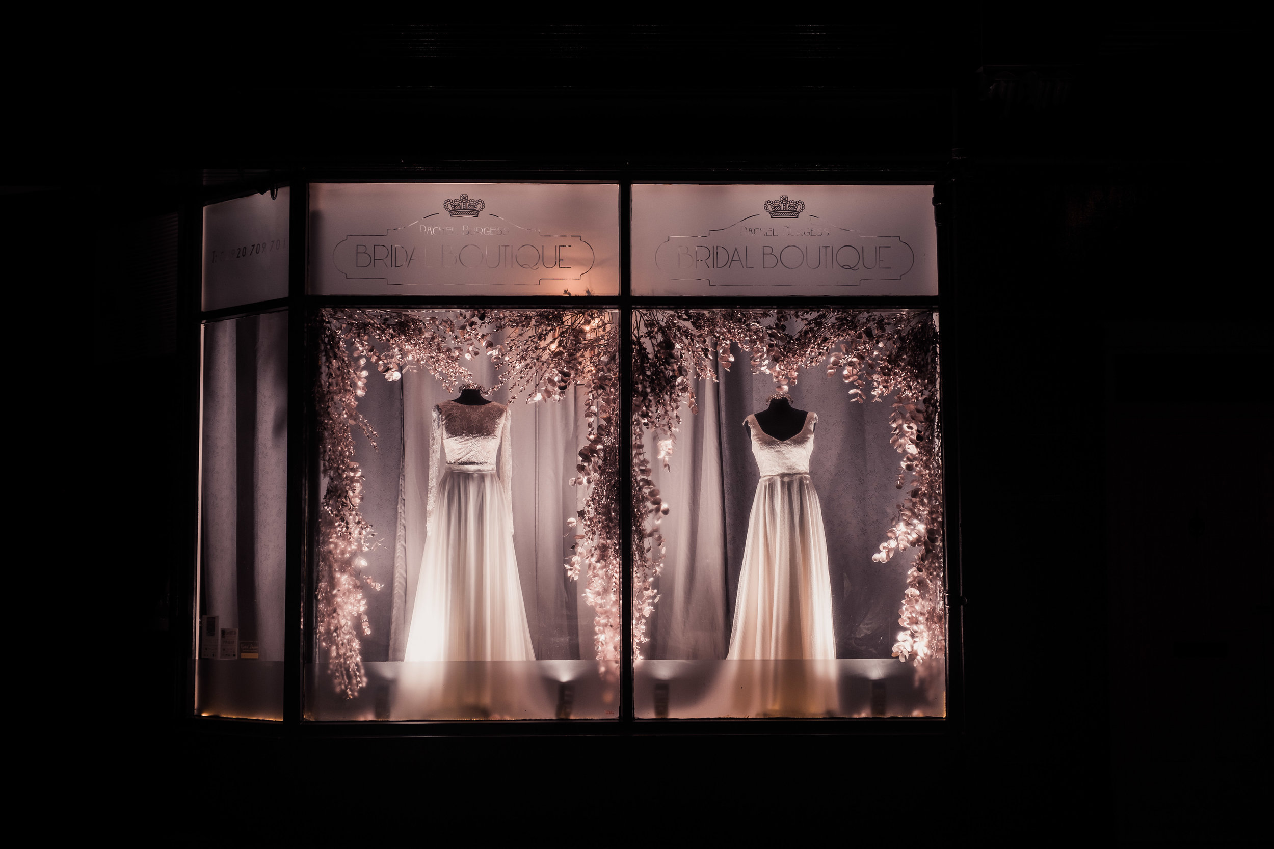 The Boutique's Christmas window display featuring (L-R) - Scarlett skirt paired with the Effy Crop by E&W Couture and our Poppy dress by Helen Rhiannon. x