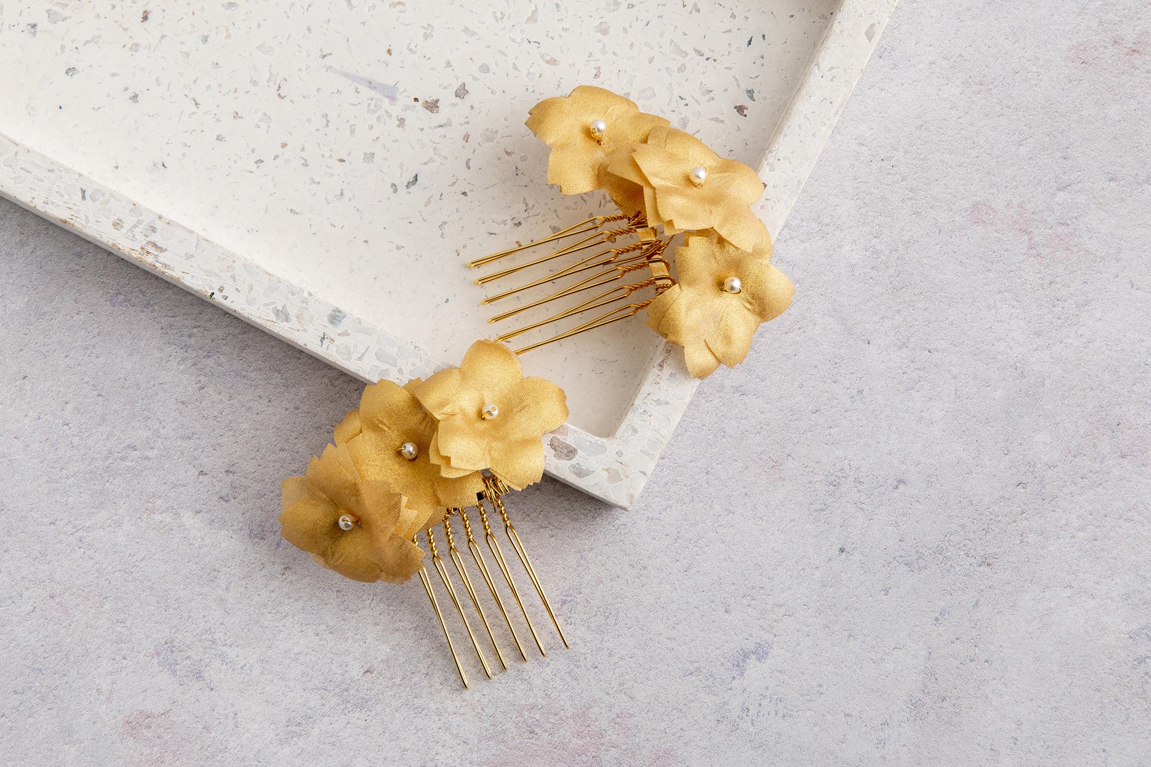 Claire Hill Designs Gold Flower Silk Hair Clips.jpg