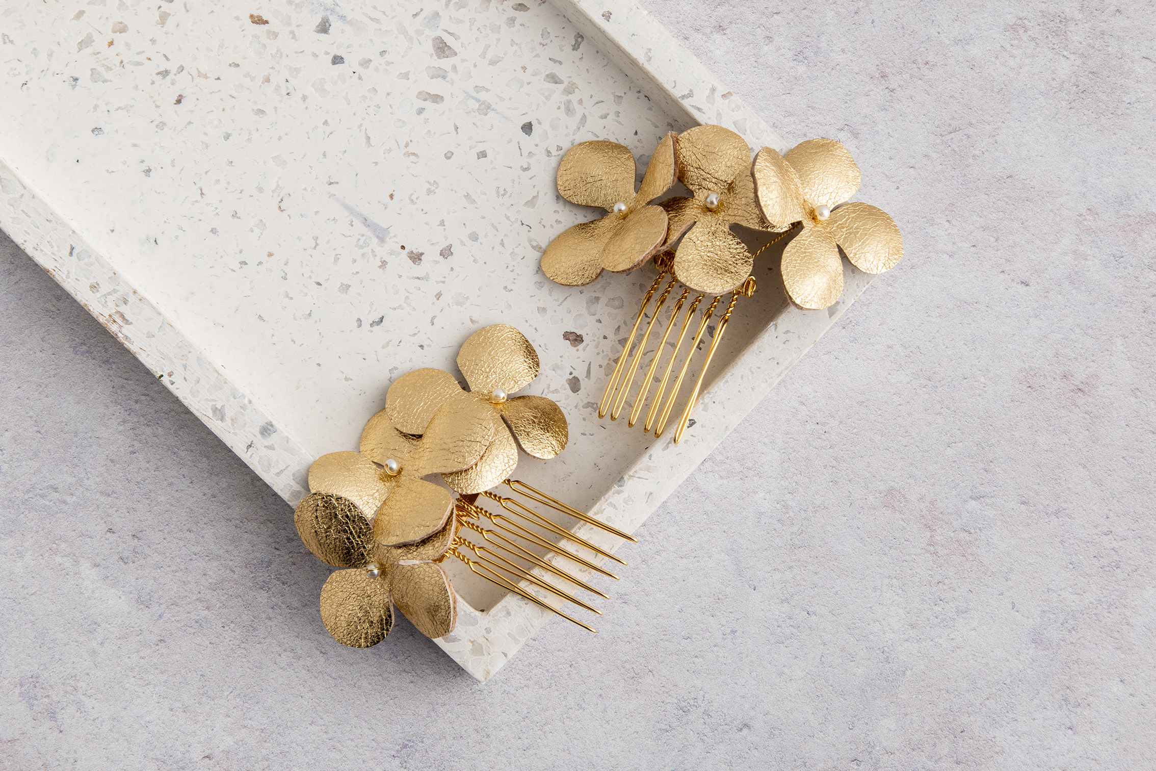 Claire Hill Designs Gold Leather Triple Hydrangea Flower Hair Slides.jpg