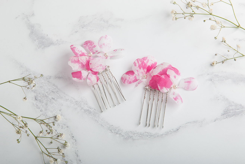 Claire Hill Designs White and Pink Speckled Silk Hydrangea Flower Hair Slides.jpg