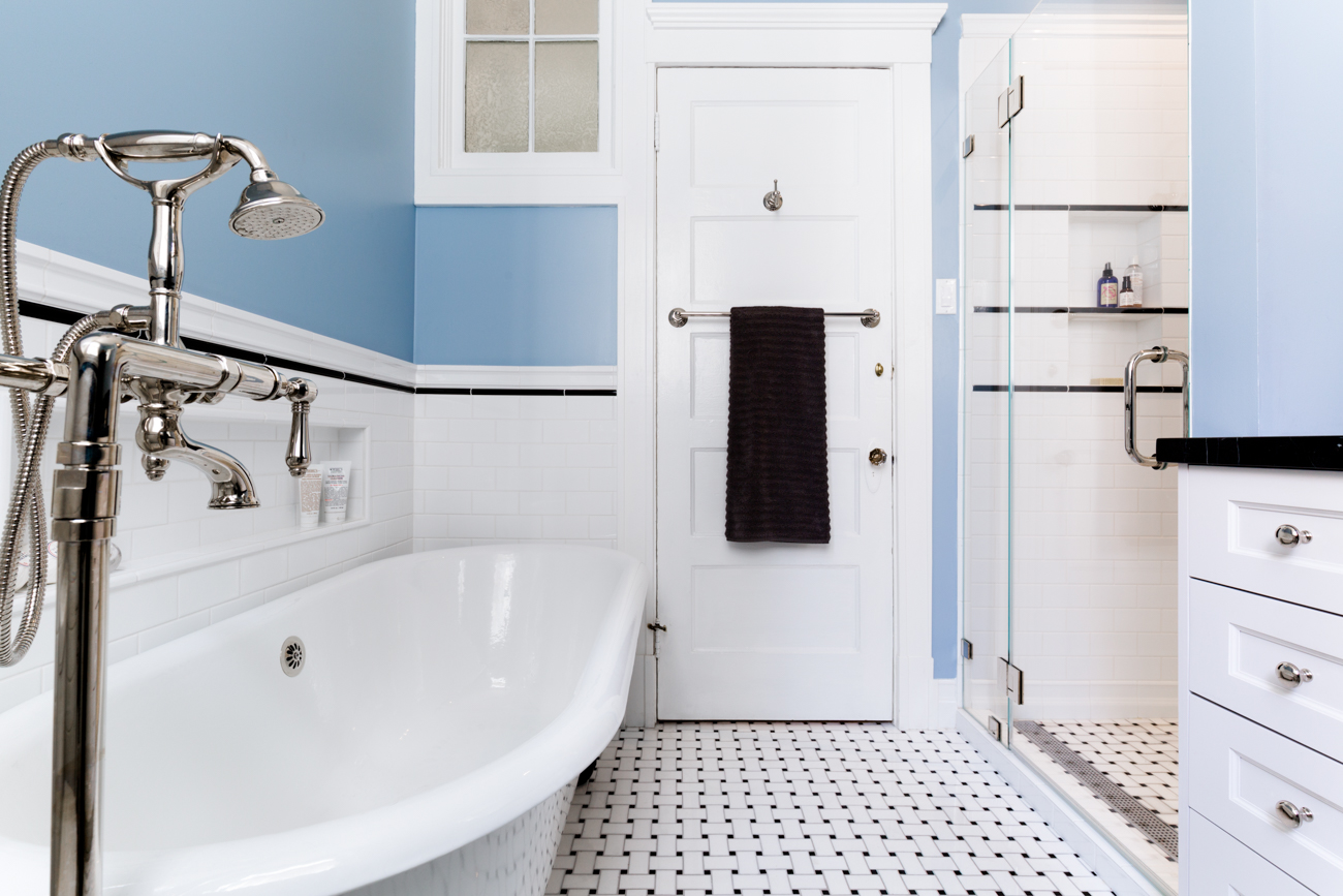Castro Bath Remodel Tile and Claw Foot Tub - San Francisco, California