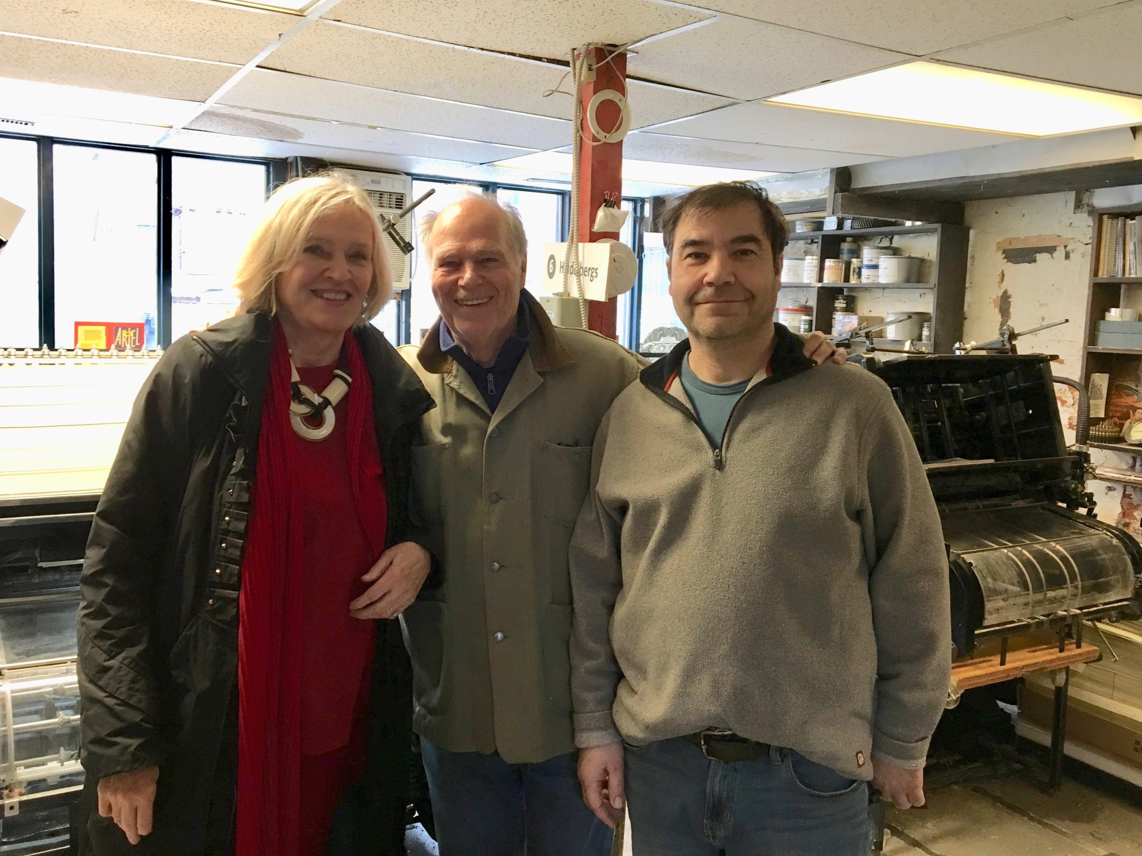 Allan Royal and Kathleen Metcalfe visit our wonderful printer, John De Jesus, at Coach House.