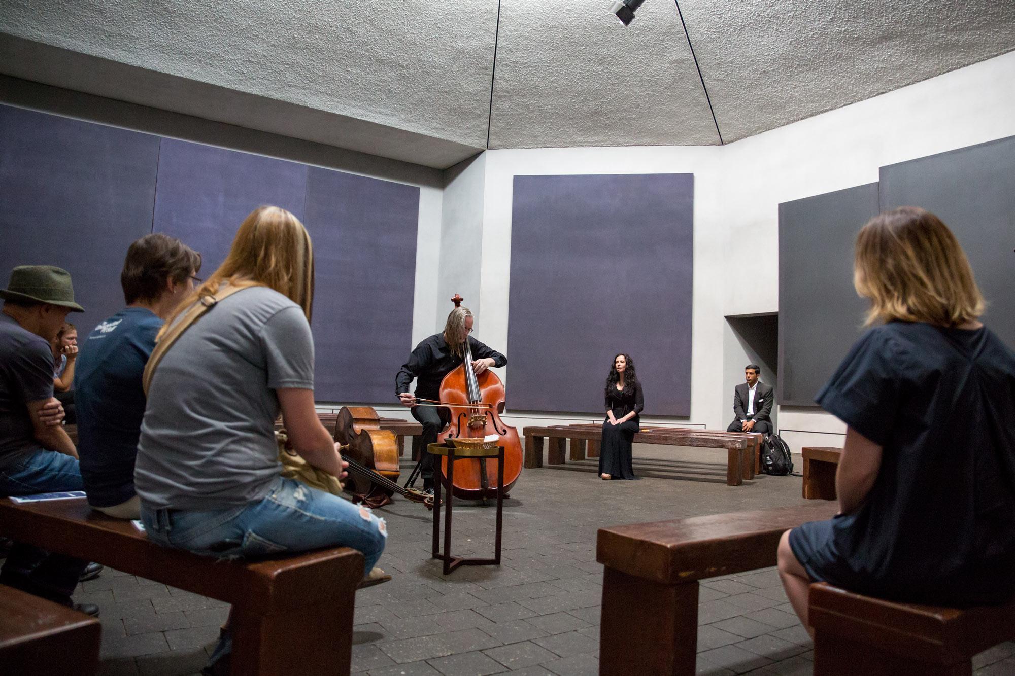 Anecdote of the Spirit at The Rothko Chapel. Misha Penton, soprano & concept. Thomas Helton, double bass. MenilFest 2017. Photo: Runaway Productions