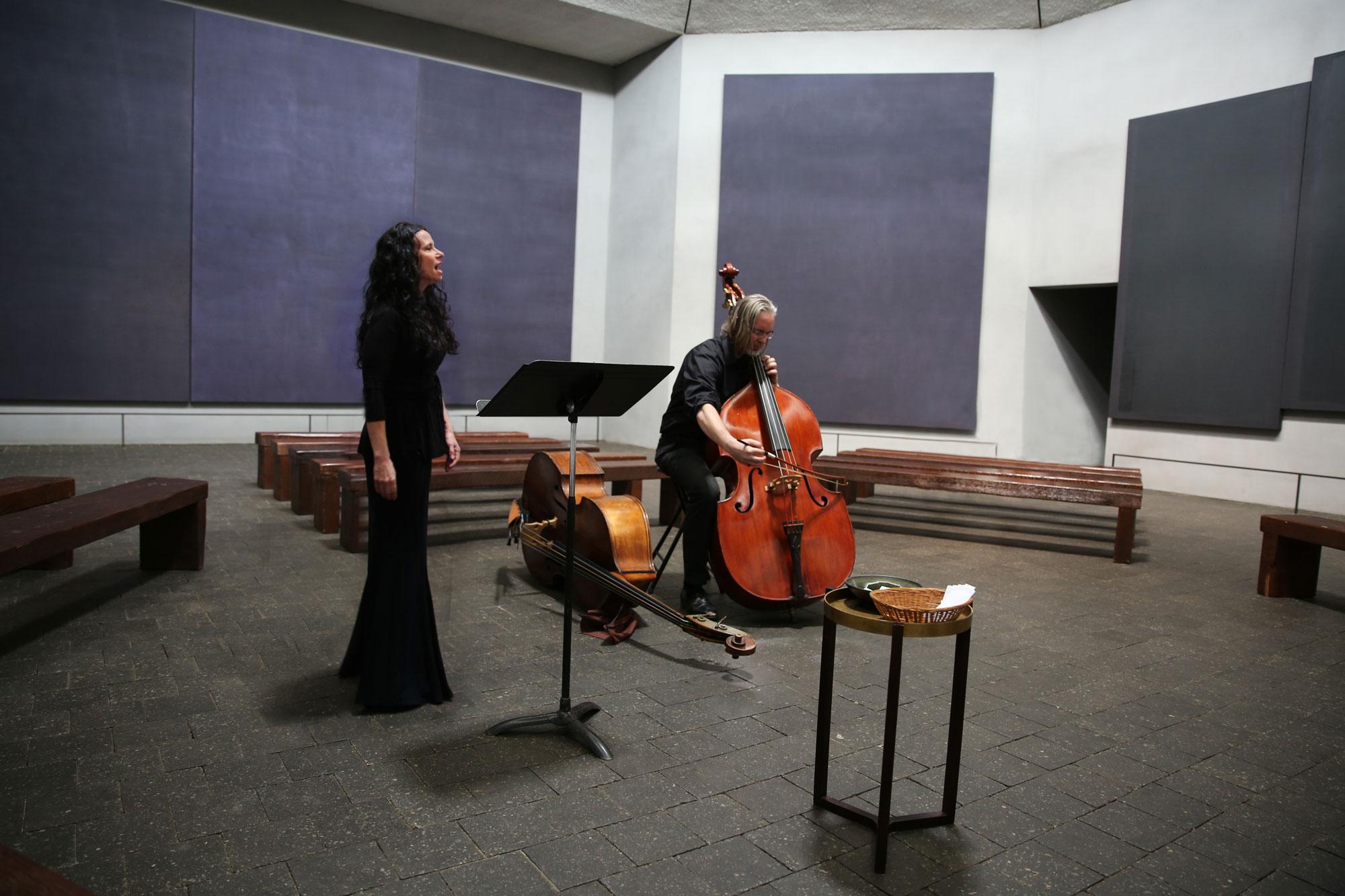 Anecdote of the Spirit at The Rothko Chapel. Misha Penton, soprano & concept. Thomas Helton, double bass. MenilFest 2017. Photo: D. Nickerson