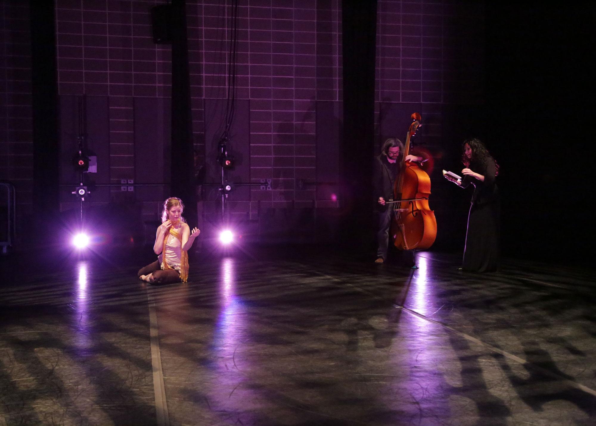 Dialogue entre, an experimental trio. Misha Penton, soprano. Brent Fariss, double bass. Music by Misha Penton and Brent Fariss. Meg Brooker, dancer and choreographer