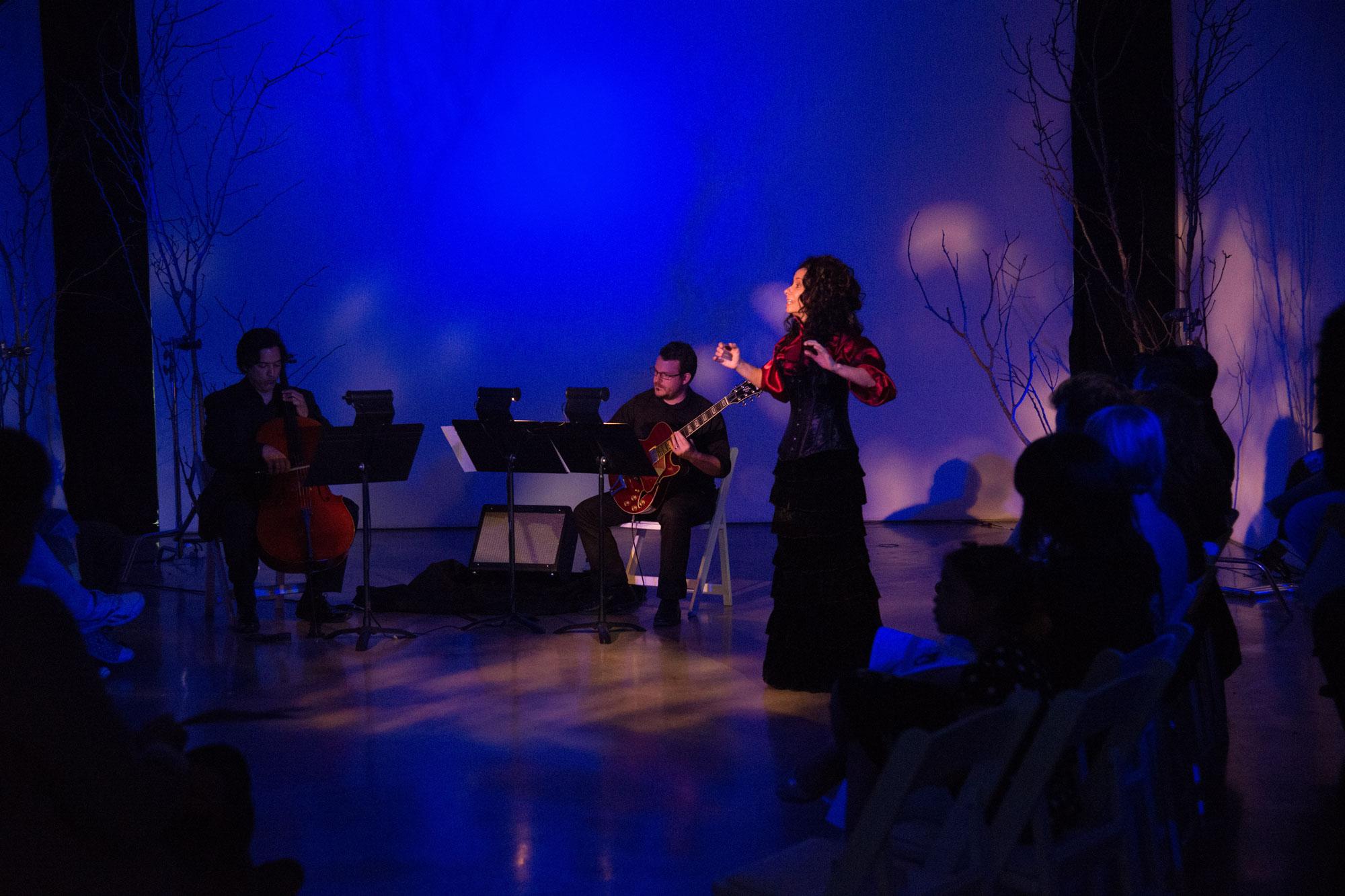 ravens & radishes. Misha Penton, soprano, concept, text. George Heathco, music. Meg Brooker, dancer Daniel Saenz, cello. Photo: David DeHoyos