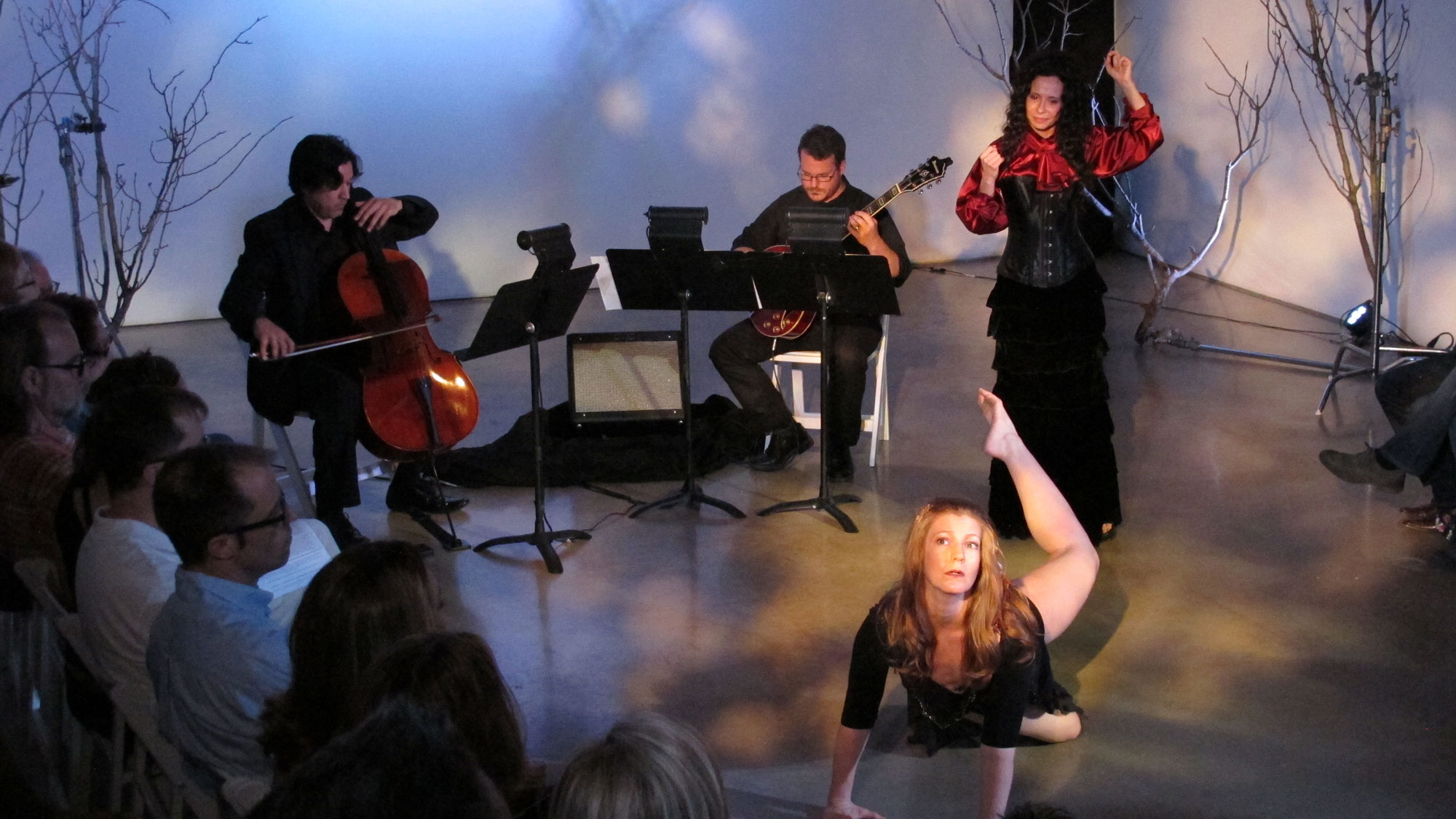 ravens & radishes. Misha Penton, soprano, concept, text. George Heathco, music. Meg Brooker, dancer Daniel Saenz, cello. Photo: D. Nickerson.