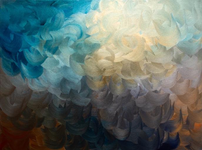 """Chameleon Scales II — acrylic on canvas. 36"""" x 48"""" — Misha Penton"""