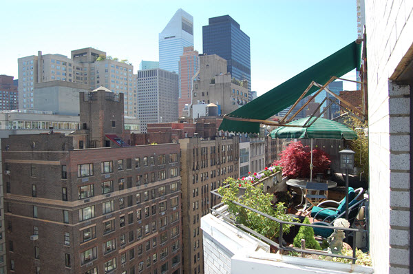 A New York apartment at the Terrace Garden East with a container garden.