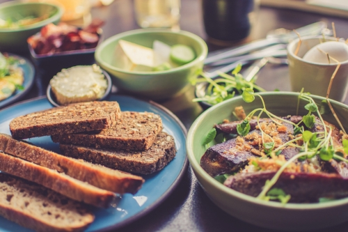Healthy breakfast with wheat toast and sprouts