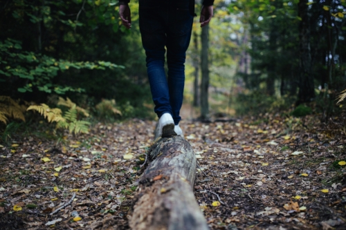 Young person walking on a log in the forest with leaves on the ground balancing