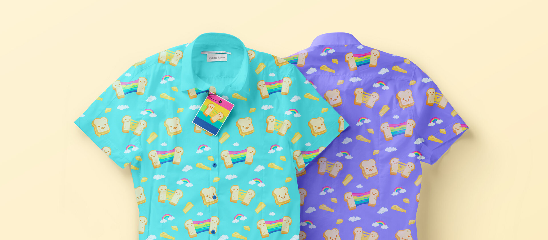 Shirt pattern designs - day and night versions.