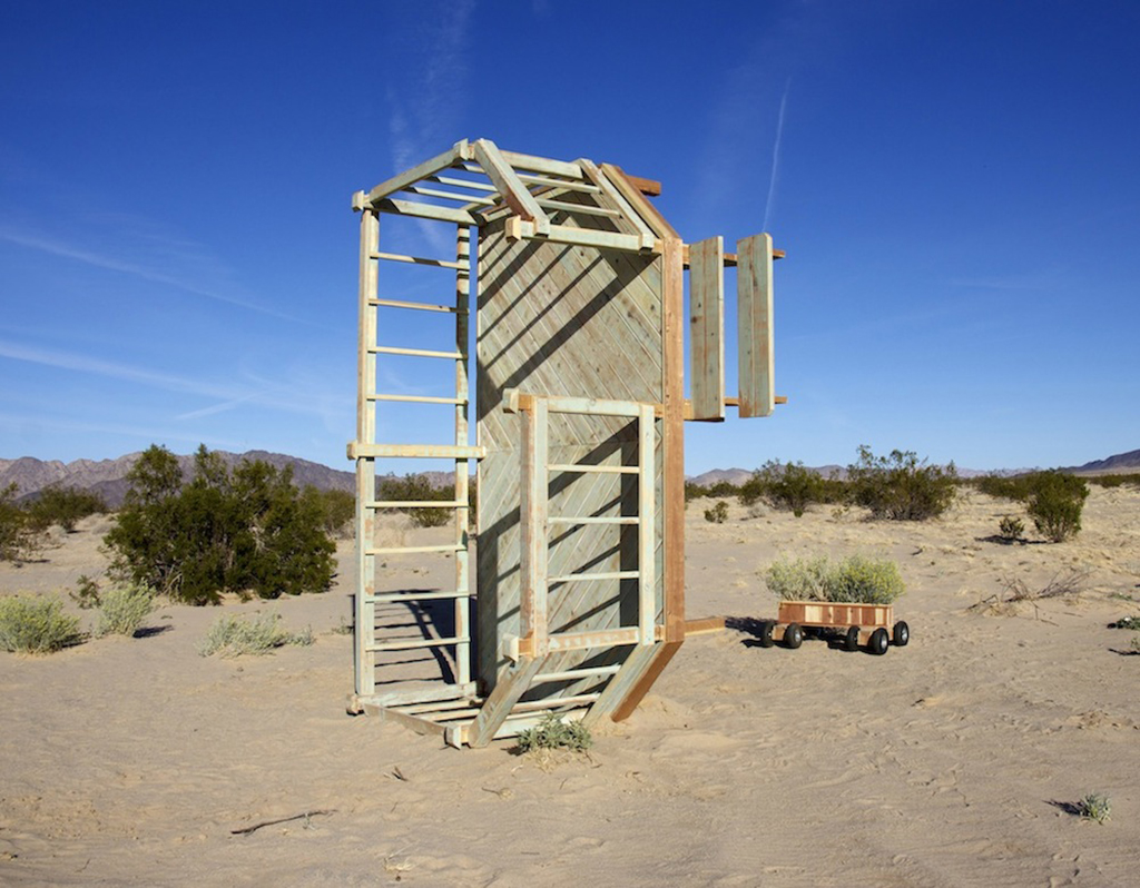"""we have so much in common,  2014 Dimensions variable Redwood  Phase 1 (deck): My grad school studio, Santa Barbara CA Phase 2 (monument): """"Spectacular Subdivisions,"""" Wonder Valley CA Phase 3 (patio furniture):My grad school studio and backyard, Santa Barbara CA"""