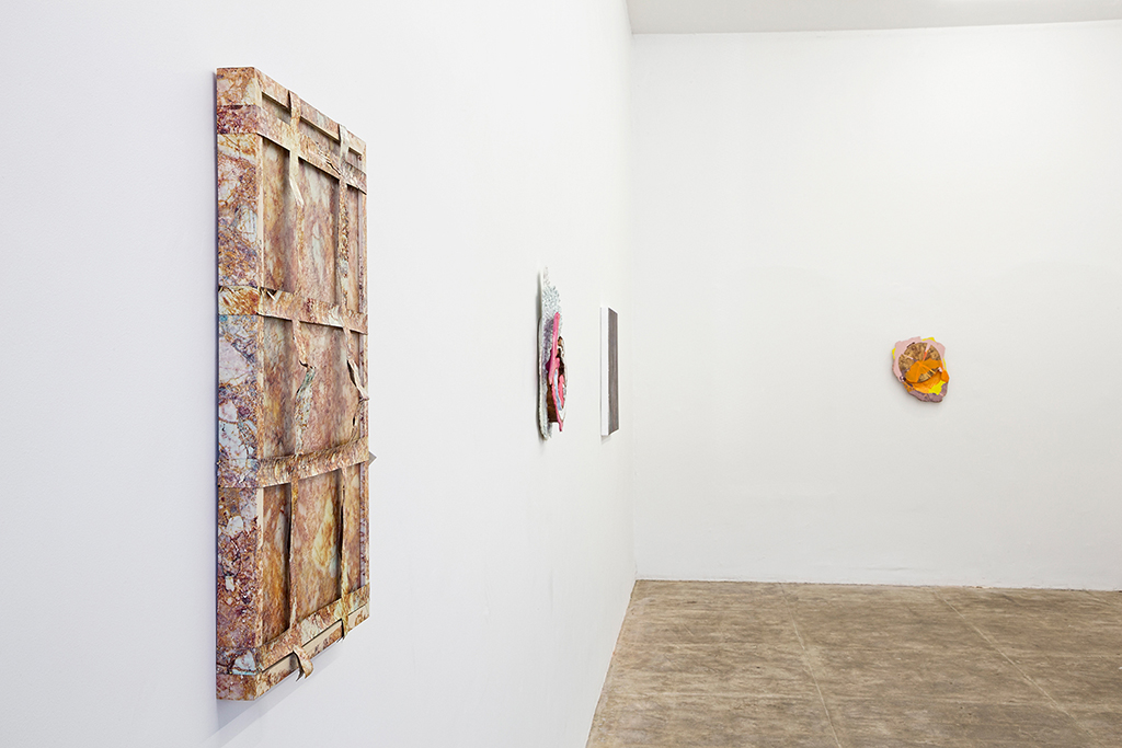"Skinned , 2015 24 x 16 x 2 inches Hydroprinted artist's frame and tarp  Installation view: ""Analog Watch"" at CES Gallery, Los Angeles CA"