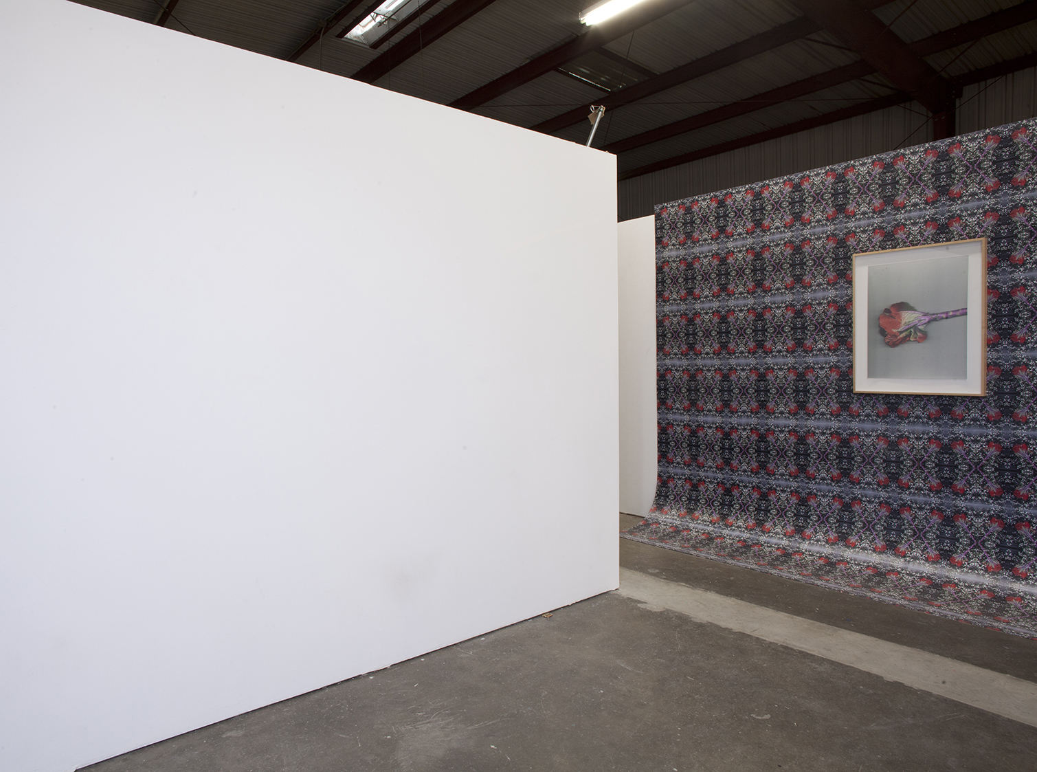 "Quick and endless 2 , 2017 108 x 204 x 28 inches Inkjet prints on masonite, lightjet type c print, artist's frame  Installation view: ""Illuminating Threads"" at Dalton Warehouse, Los Angeles CA"