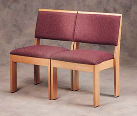 An example of the style of chairs (fabric color will be blue and wood color will be darker).  Click here to learn more about New Holland Church Furniture , our Sanctuary furniture maker.
