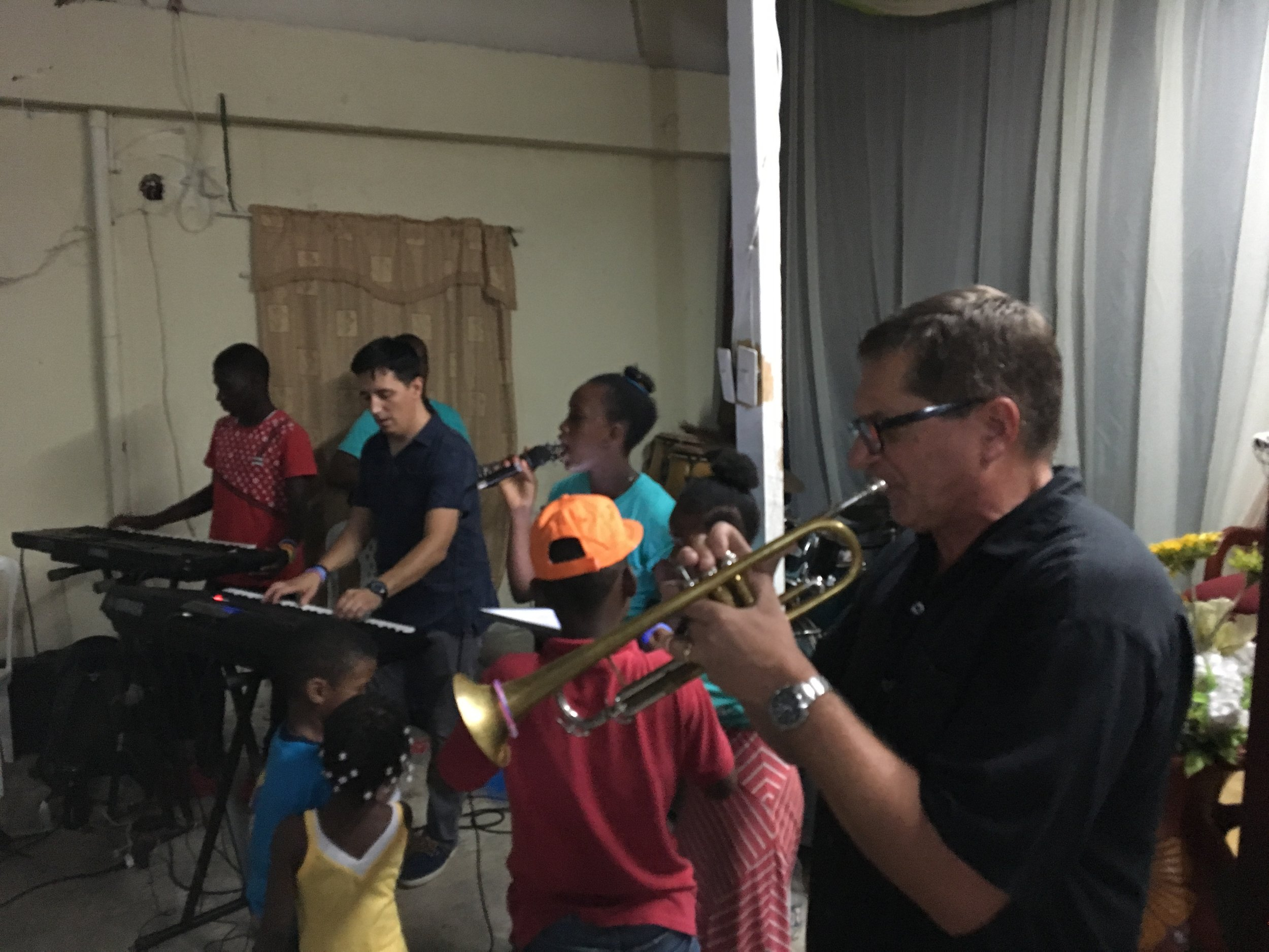 From the AP Mission Team 2018 trip to La Romana, Dominican Republic - Craig and Dave with musicians at Iglesia Bautista Luz Divina, our mission partner congregation