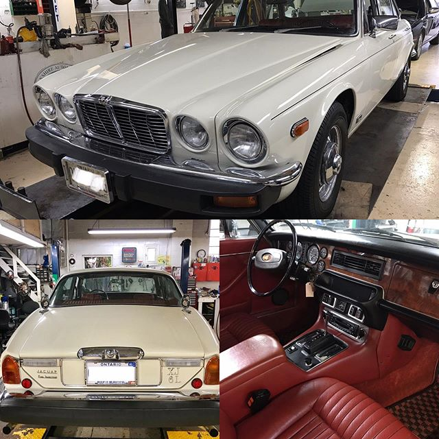 1979 Jaguar XJ6 L in for extensive service as it has been not driven for a while. Vehicle has been in the family from new.