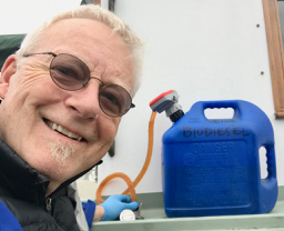 Peter with his new battery-powered biodiesel pump