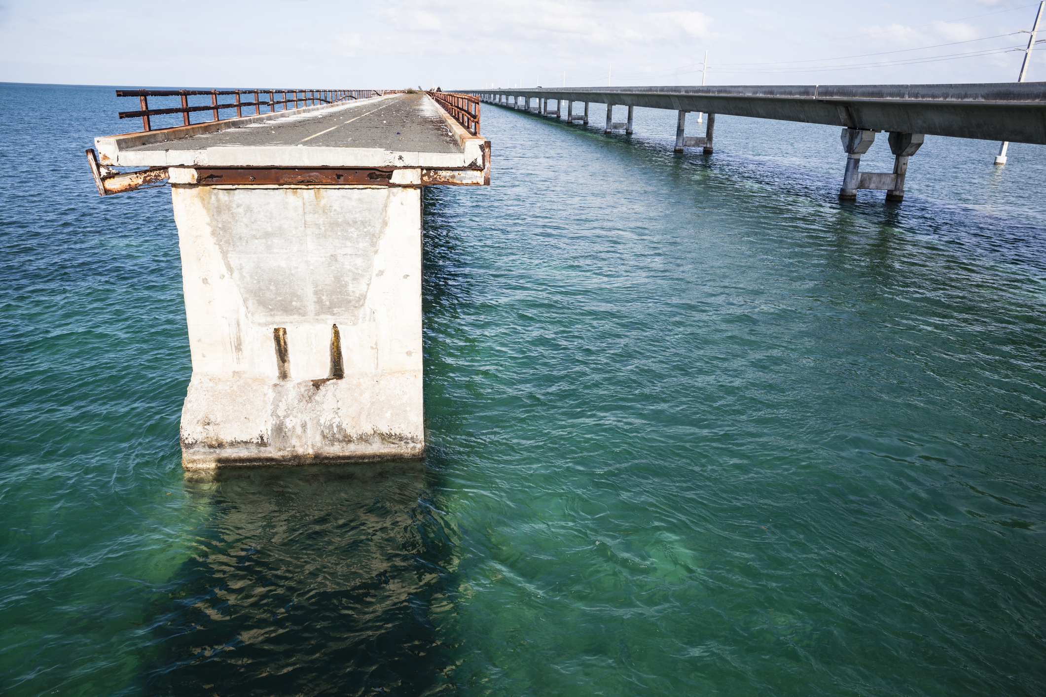 Seven Mile Bridge--old and new.  Scary!