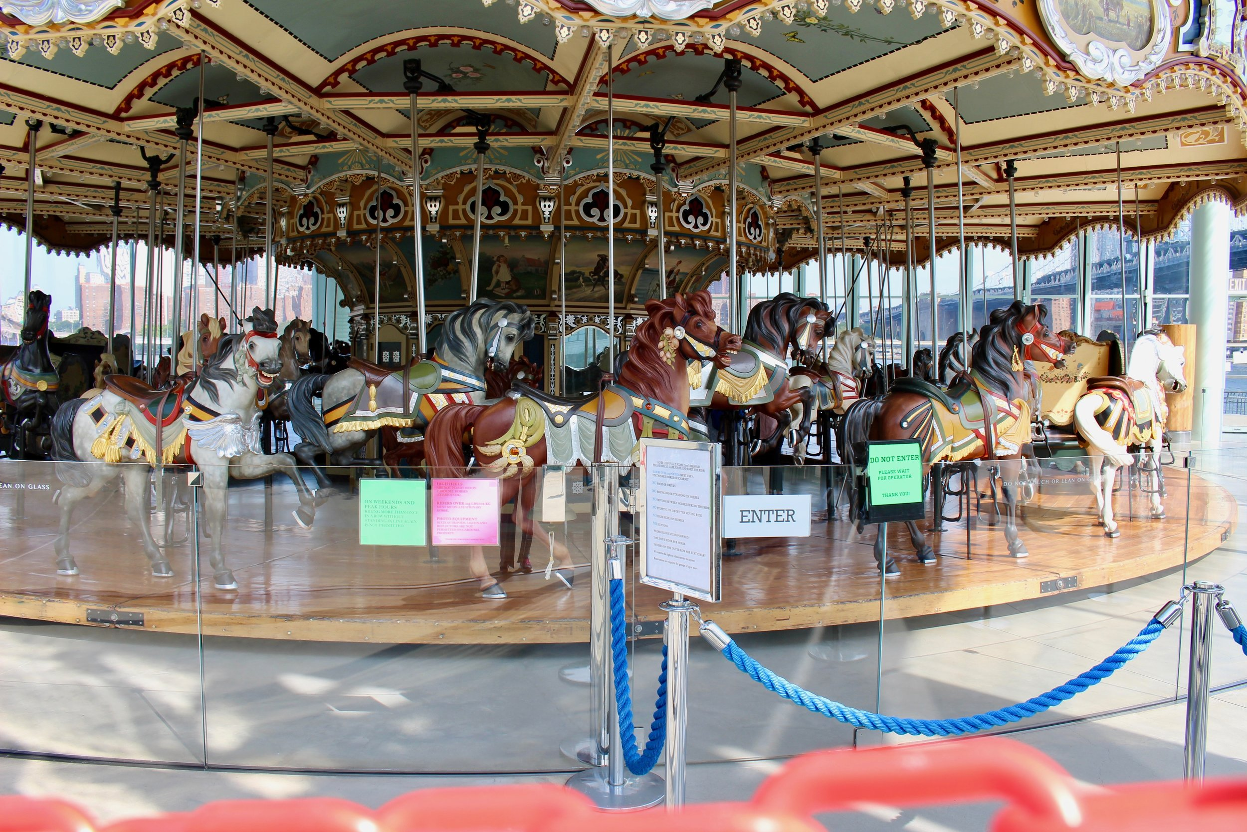 The Carousel, not yet open for the day. The place where children dream and their imaginations run freely. Hummingbird has a great story set at Jane's Carousel,  Magic.