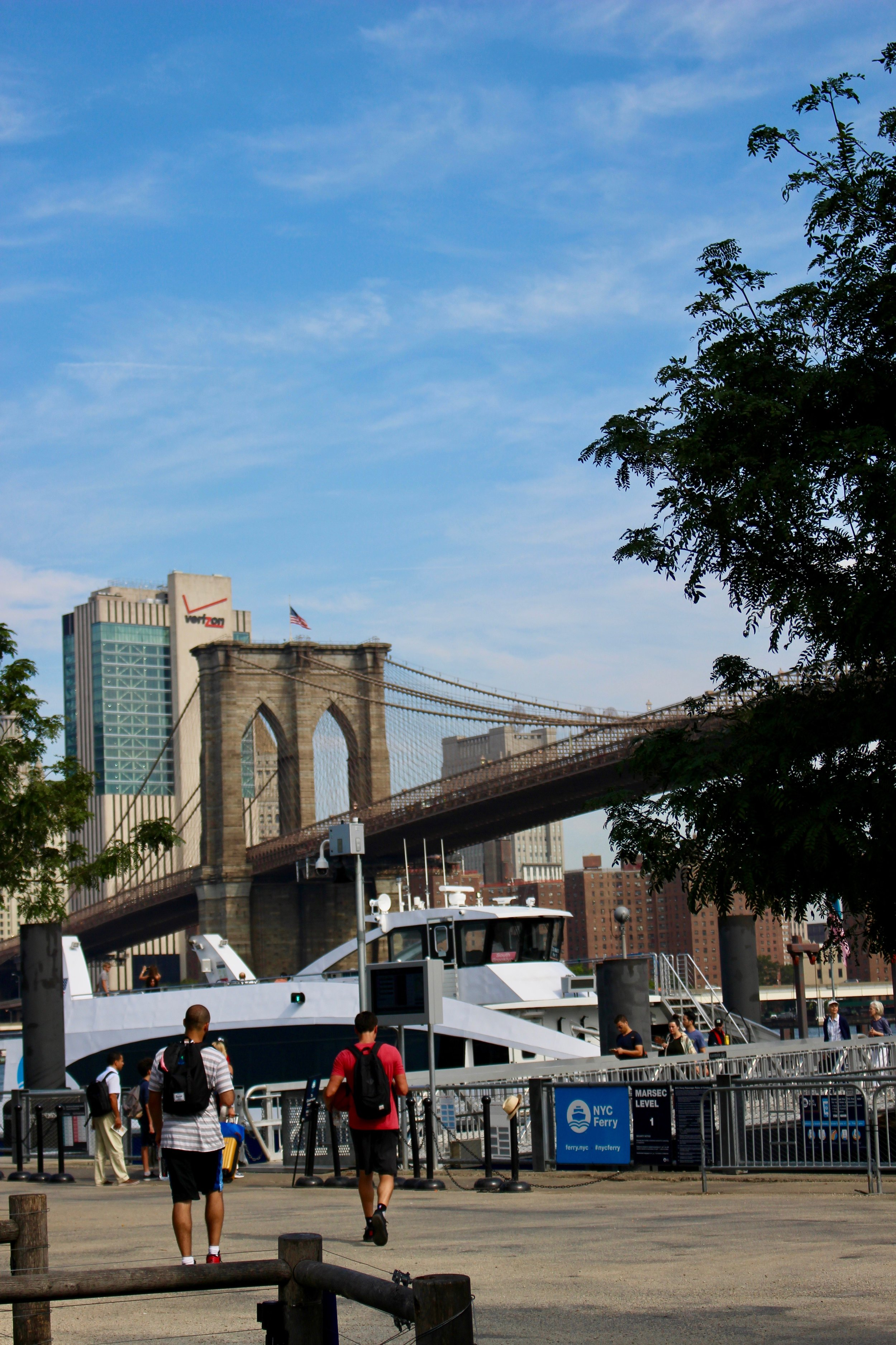 Stepping out of the Park at Old Fulton and Furman Streets, at Pier One. It's the ferry to NYC, a fabulous and easy way to access the City on a beautiful day. Note the Brooklyn Bridge behind the NYC Ferry.