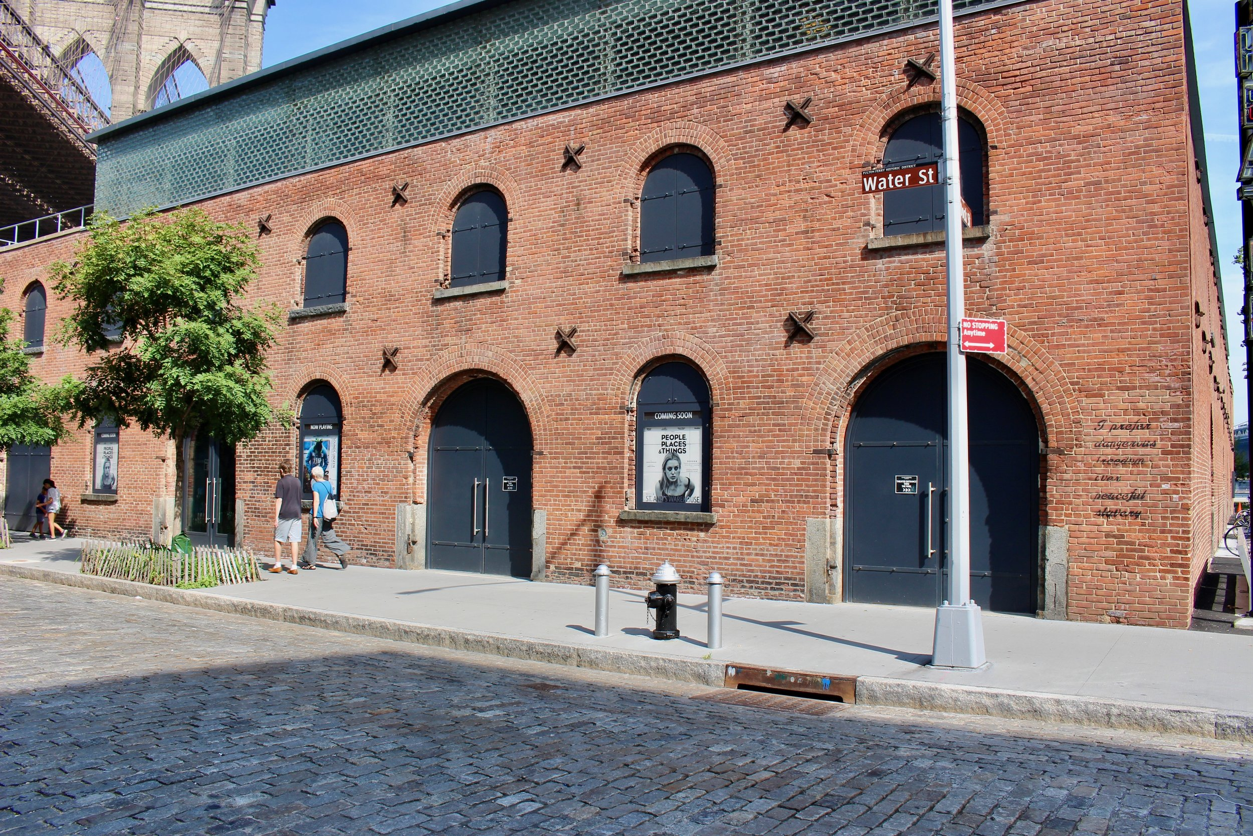 Stepping out of the Park onto Water Street, here is St. Ann's Warehouse, a converted performance space. Note the Brooklyn Bridge just behind it.