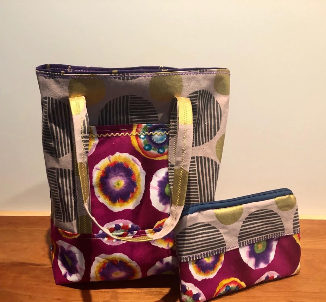 Purple Ink Spot Flower Bag & Case