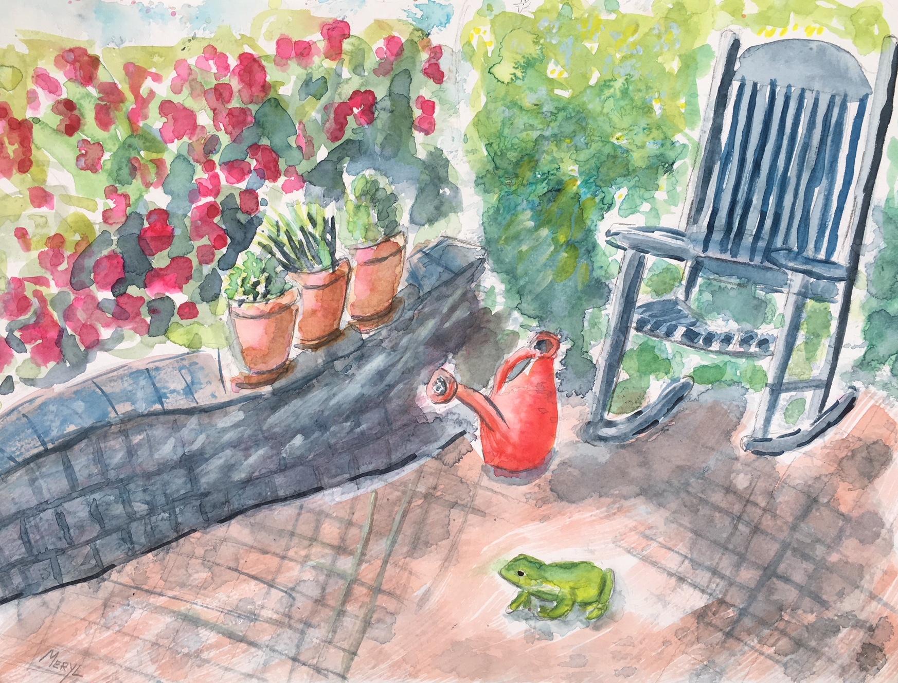 Elva's Patio with Frog