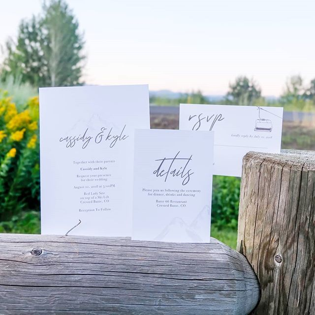 Take me to the Mountains 🐐 . Thank you to @cassidy.southard for including me in your very special day!! . #yourdayyourway #paperlove #prettypaper #thesnailmailcomeback #loveyourpaper #weddingdaypaper