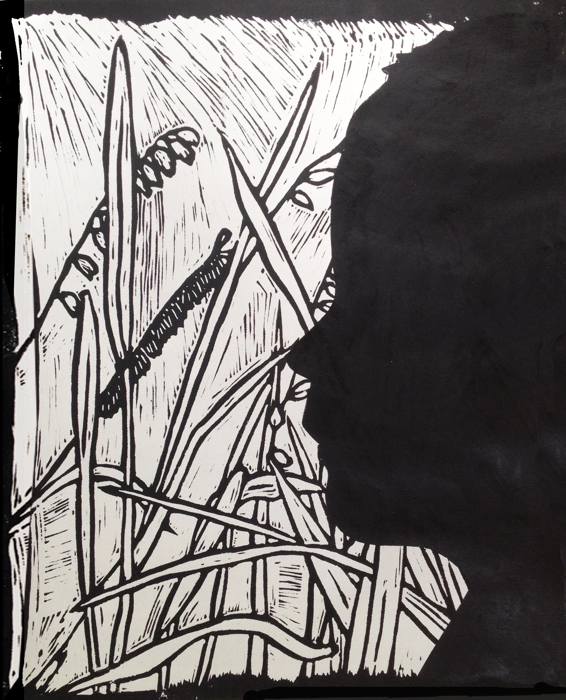 'Schaduwportret', lino-collage-druk, 2016