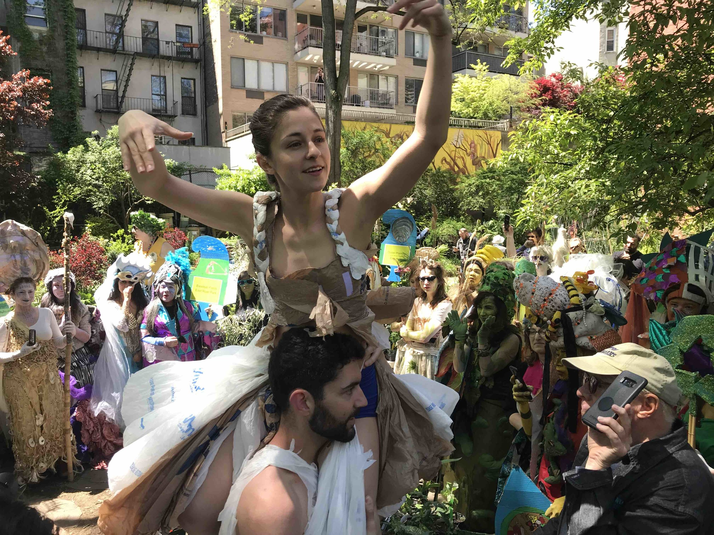 Genna Mergola and Shawn Brush performing at the EcoCity Pageant on the Lower East Side of New York